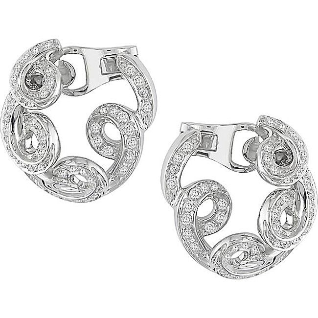 Miadora 18k Gold 1ct TDW Diamond Spiral Clip Earrings