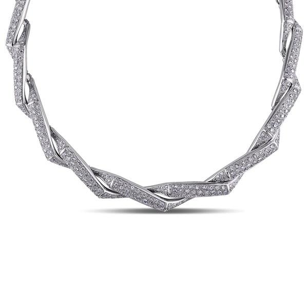Miadora Signature Collection 18k White Gold 10 5/8ct TDW Diamond Swirl Necklace (GH, I1)