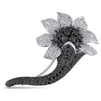 Miadora Signature Collection 18k Gold 7 1/5ct TDW Black Diamond Flower Brooch