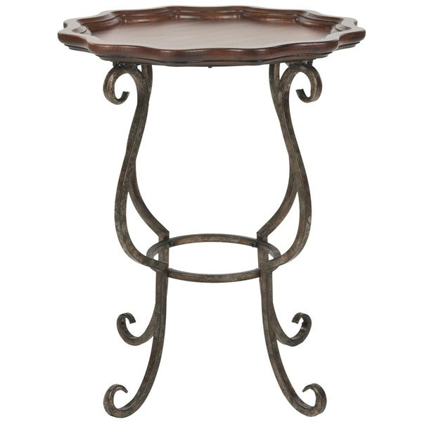 Safavieh Lorraine Dark Brown Scalloped Side Table