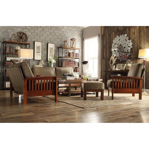 Tribecca home hills mission oak olive microfiber 4 piece for 4 piece living room set
