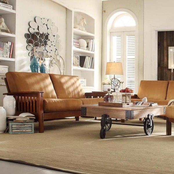 TRIBECCA HOME Hills Mission Oak Rust Microfiber 4-piece Living Room Set