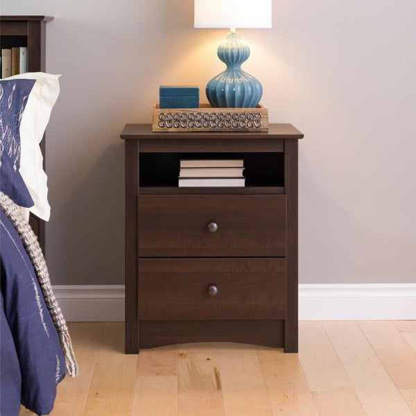 Ellsworth Espresso Tall 2 Drawer Night Stand Free