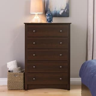 Laurel Creek Easton Espresso 5 Drawer Dresser