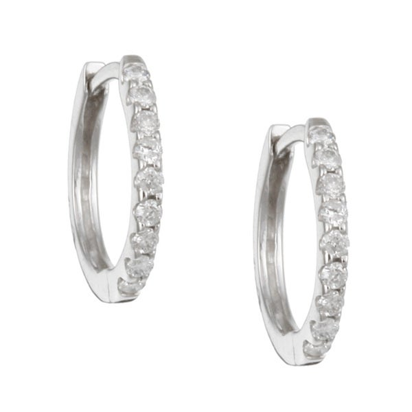 14k White Gold 1 5ct Tdw Diamond Hoop Earrings