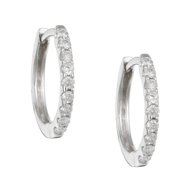 14k White Gold 1/5ct TDW Diamond Hoop Earrings (H-I, I3)