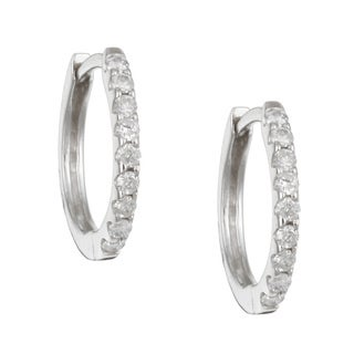 14k White Gold 1/5ct TDW Diamond Hoop Earrings