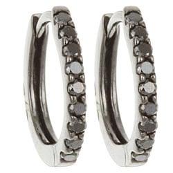 Black Rhodium 14k Gold 1/5ct TDW Black Diamond Hoop Earrings
