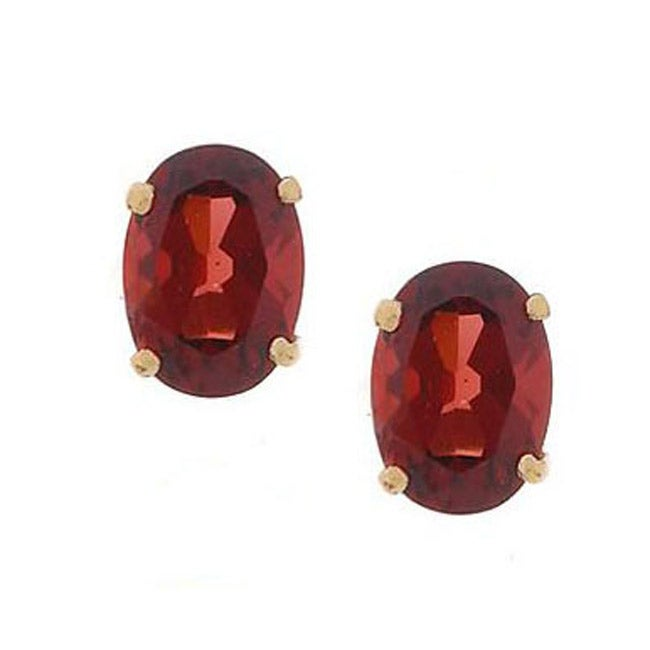 Kabella 14k Yellow Gold Oval Garnet Stud Earrings