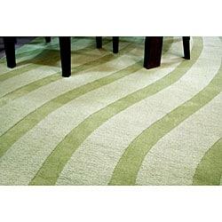 Hand-tufted Green Waves Wool Rug - 5' x 8'