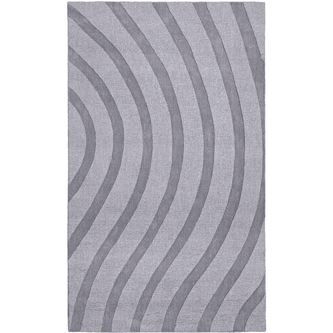 Hand-tufted Grey Waves Wool Rug (5' x 8') - 5' x 8'