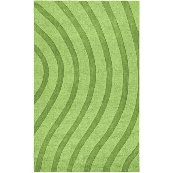 Elite Wave Green Wool Rug (8' x 10') - 8' x 10'
