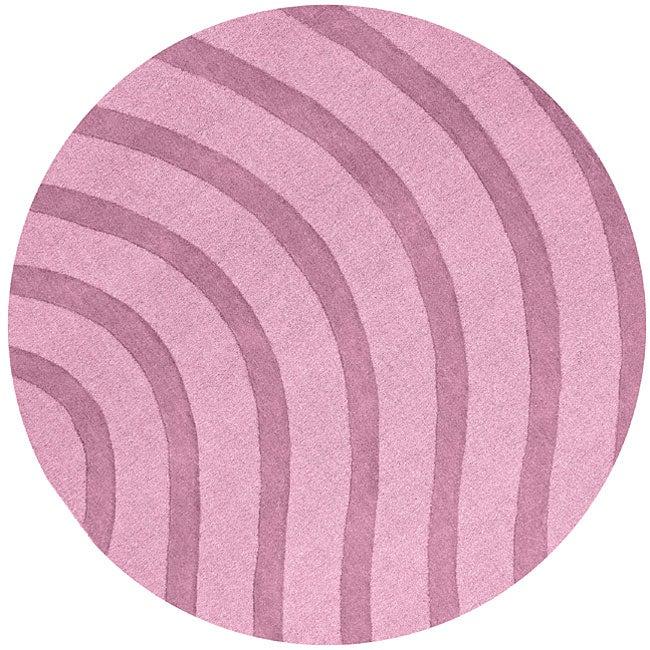 Purple Wool Waves Rug (8' Round) - 8' x 8'