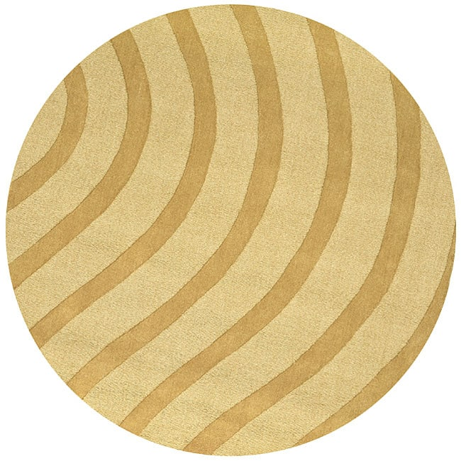 Shop Waves Tan Wool Rug 8 Round Free Shipping Today