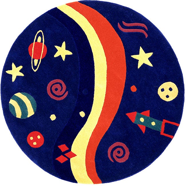 Hand-tufted Kids Space Rug (5' Round)