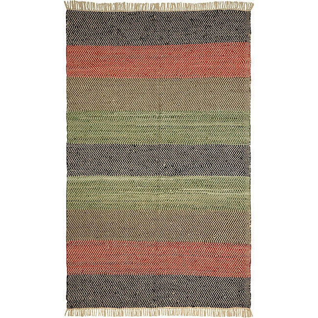 Chindi Striped Leather Rug (4' x 6')