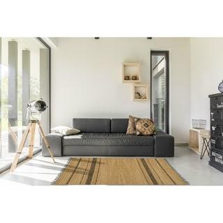 Chindi Tan/ Black Leather Rug (4' x 6')