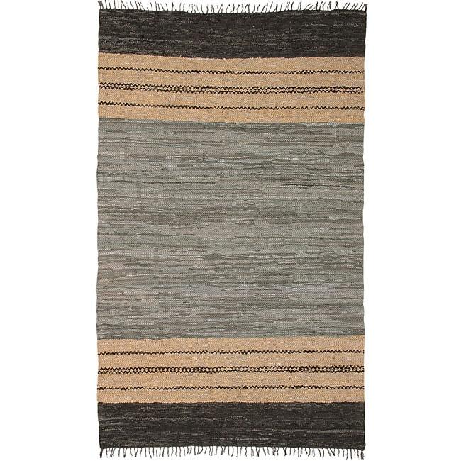 Chindi Grey Leather Rug (5' x 8')