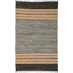 Chindi Grey Leather Rug (5' x 8')