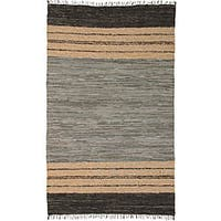 Chindi Grey Leather Rug (5' x 8') - 5' x 8'