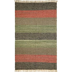 Hand-woven Leather Chindi Rug (5' x 8')