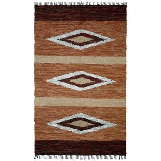 Chindi Diamonds Leather Rug (5' x 8') - 5' x 8'