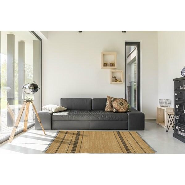 Chindi Tan Leather Rug (5' x 8') - 5' x 8'