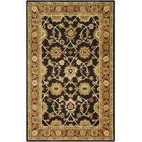 Kashan Black/ Plum Wool Rug - 5' x 8'