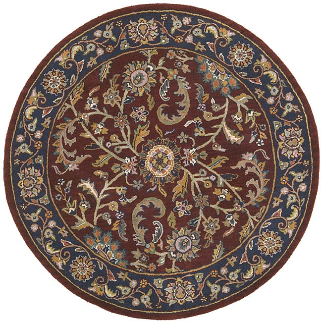Hand Tufted Agra Red Gold Wool Rug 8 Round: Elite Red/ Navy Rug (6' Round)
