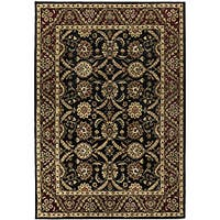 Black/ Burgundy Wool Rug (8' x 11')