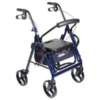 Drive Medical Duet Dual Function Transport Wheelchair Rollator Rolling Walker, Blue