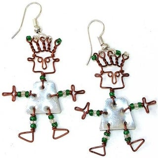 Handmade Recycled Tin 'African Spirit' Earrings (Kenya)
