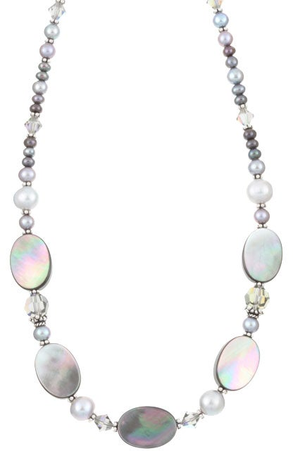Charming Life Sterling Silver Black Mother of Pearl Necklace