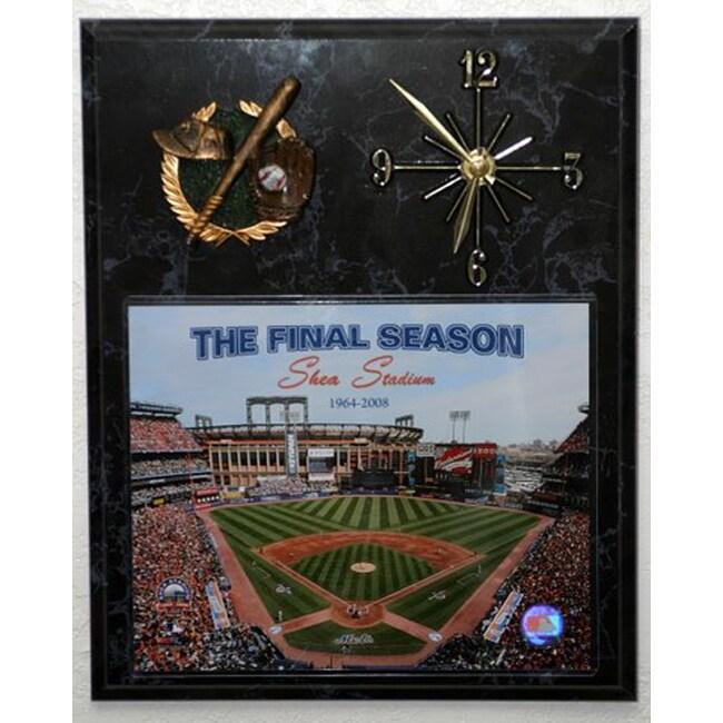 Shea Stadium Final Season Picture Clock Plaque