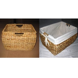 Seagrass File Basket with Liner - Thumbnail 2