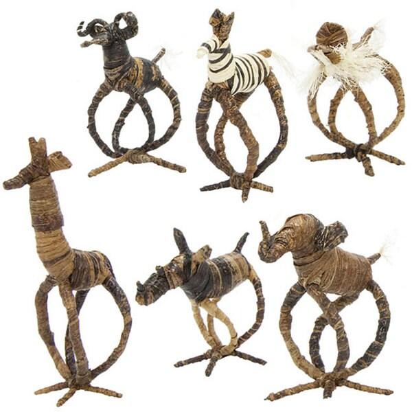 Set of 6 Banana Fiber Animal Napkin Rings (Kenya)