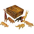 Set of 7 Wood Animal Miniatures with Box  , Handmade in Kenya