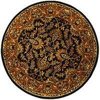 Safavieh Handmade Heritage Traditional Kashan Dark Green/ Gold Wool Rug (6' Round)