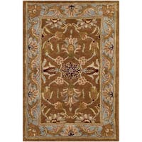 Safavieh Handmade Heritage Timeless Traditional Brown/ Blue Wool Rug - 2' x 3'