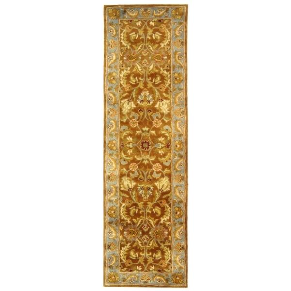Safavieh Handmade Heritage Timeless Traditional Brown/ Blue Wool Runner (2'3 x 14')