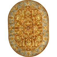 "Safavieh Handmade Heritage Timeless Traditional Brown/ Blue Wool Rug - 4'6"" x 6'6"" oval"