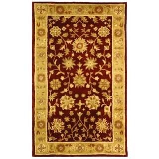 Safavieh Handmade Heritage Traditional Kashan Burgundy/ Beige Wool Rug (3' x 5')
