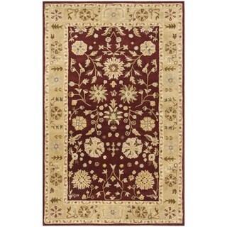 Safavieh Handmade Heritage Traditional Kashan Burgundy/ Beige Wool Rug (4' x 6')