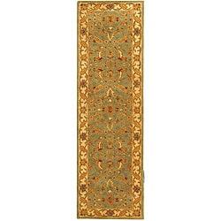 Safavieh Handmade Antiquities Treasure Teal/ Beige Wool Runner (2'3 x 14')