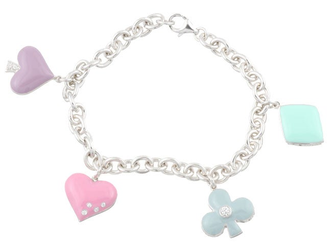 Sterling Essentials Sterling Silver CZ Enamelled Poker Suits Charm Bracelet
