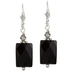 Lola's Jewelry Silver Black Onyx and Crystal Earrings