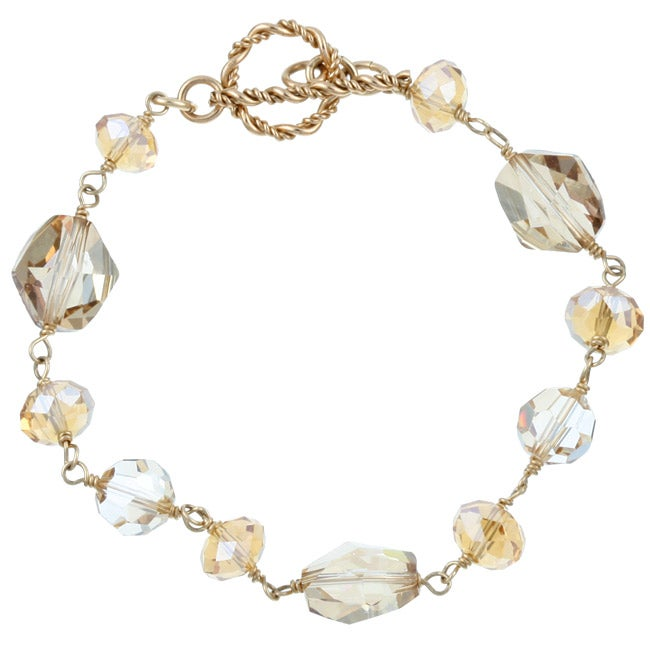 Charming Life 14k Goldfill Champagne Crystal Bracelet