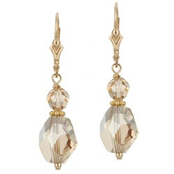 Lola's Jewelry Goldfill Chunky Champagne Crystal Earrings