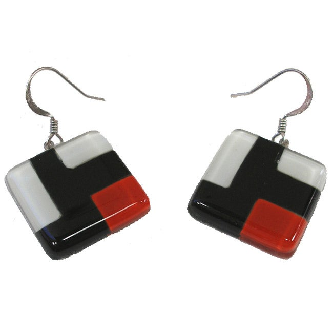 Square Fused Glass Red/ Black Cubist Earrings (Chile)