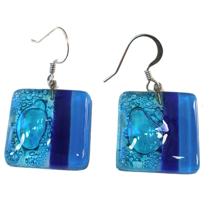 Square Fused Glass Blue Bubbles Earrings (Chile)